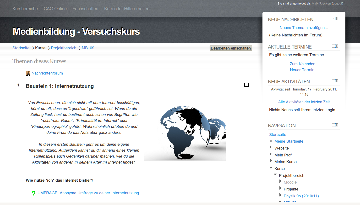 Update auf Moodle 2.0